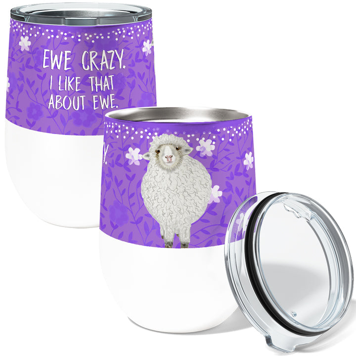 Ewe Crazy 12oz Stemless Insulated Stainless Steel Wine Tumbler