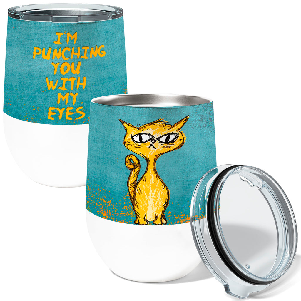 Eye Punch Cat 12oz Stemless Insulated Stainless Steel Wine Tumbler