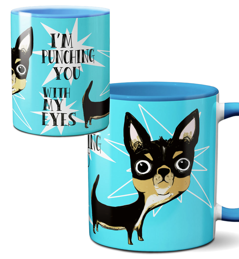 Eye Punch Dog Chihuahua Blue Mug Cup