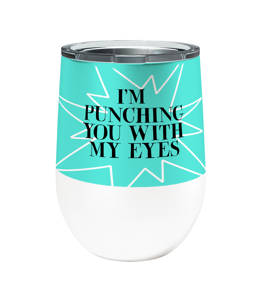Eye Punch Dog 12oz Stemless Insulated Stainless Steel Wine Tumbler