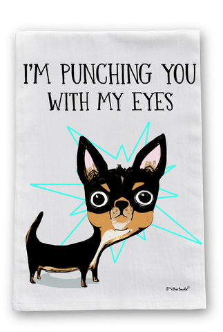 Eye Punch Dog Flour Sack Dish Towel