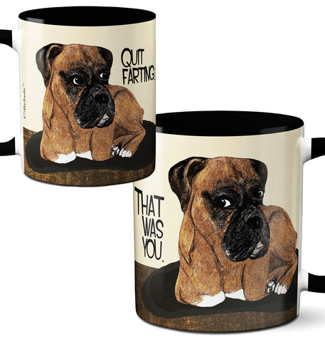 Farting Boxer Black Mug by Pithitude