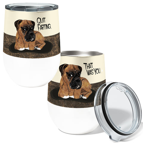 Farting Boxers 12oz Stemless Insulated Stainless Steel Wine Tumbler
