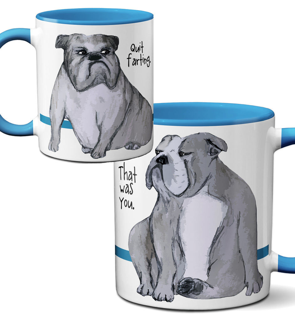 Farting English Bulldog Mug by Pithitude