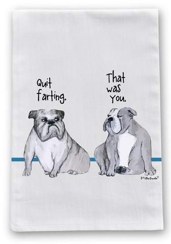 Farting English Bulldogs Flour Sack Dish Towel