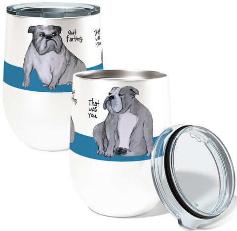 Farting English Bulldogs 12oz Stemless Insulated Stainless Steel Wine Tumbler
