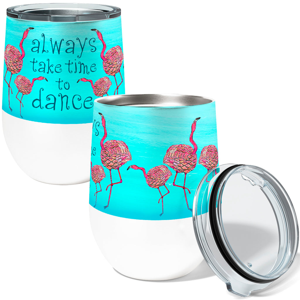 Pink Flamingos Dance 12oz Stemless Insulated Stainless Steel Wine Tumbler