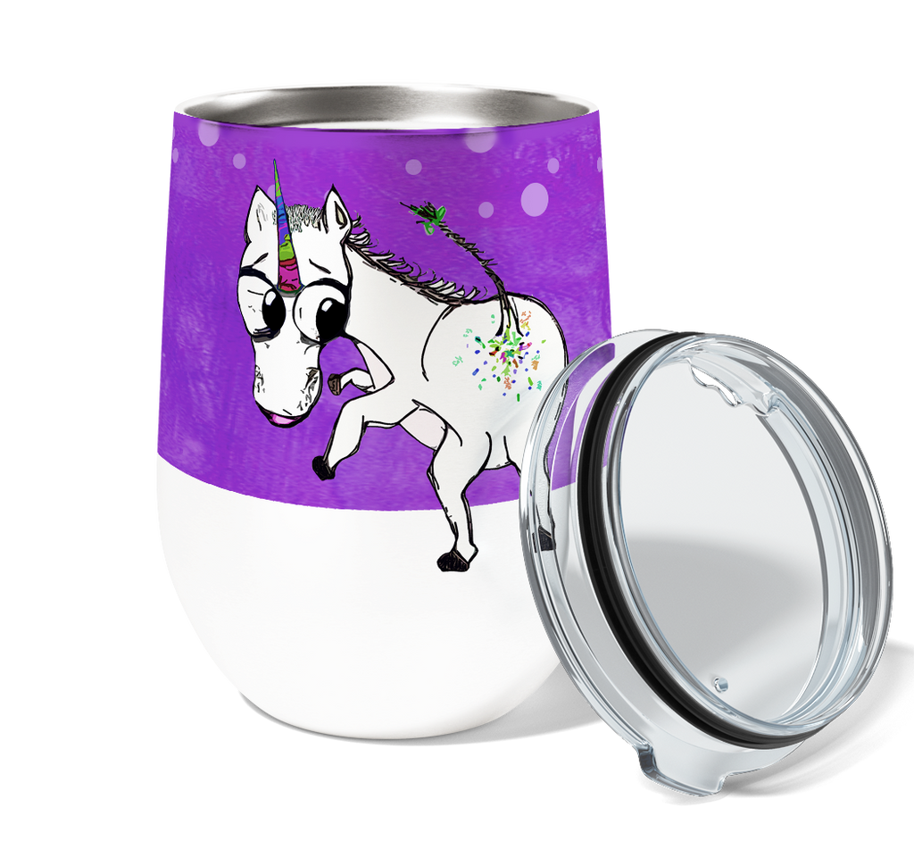 Unicorn Glitter Farts 12oz Stemless Insulated Stainless Steel Wine or Coffee Tumbler