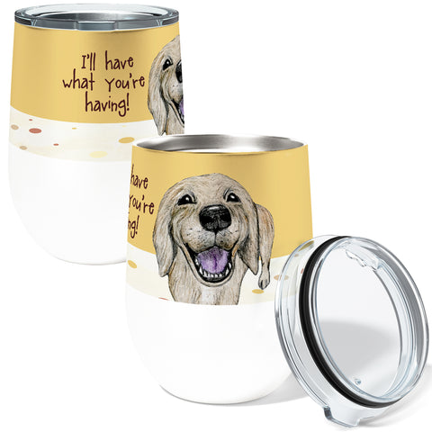 Golden Retriever 12oz Stemless Insulated Stainless Steel Wine Tumbler