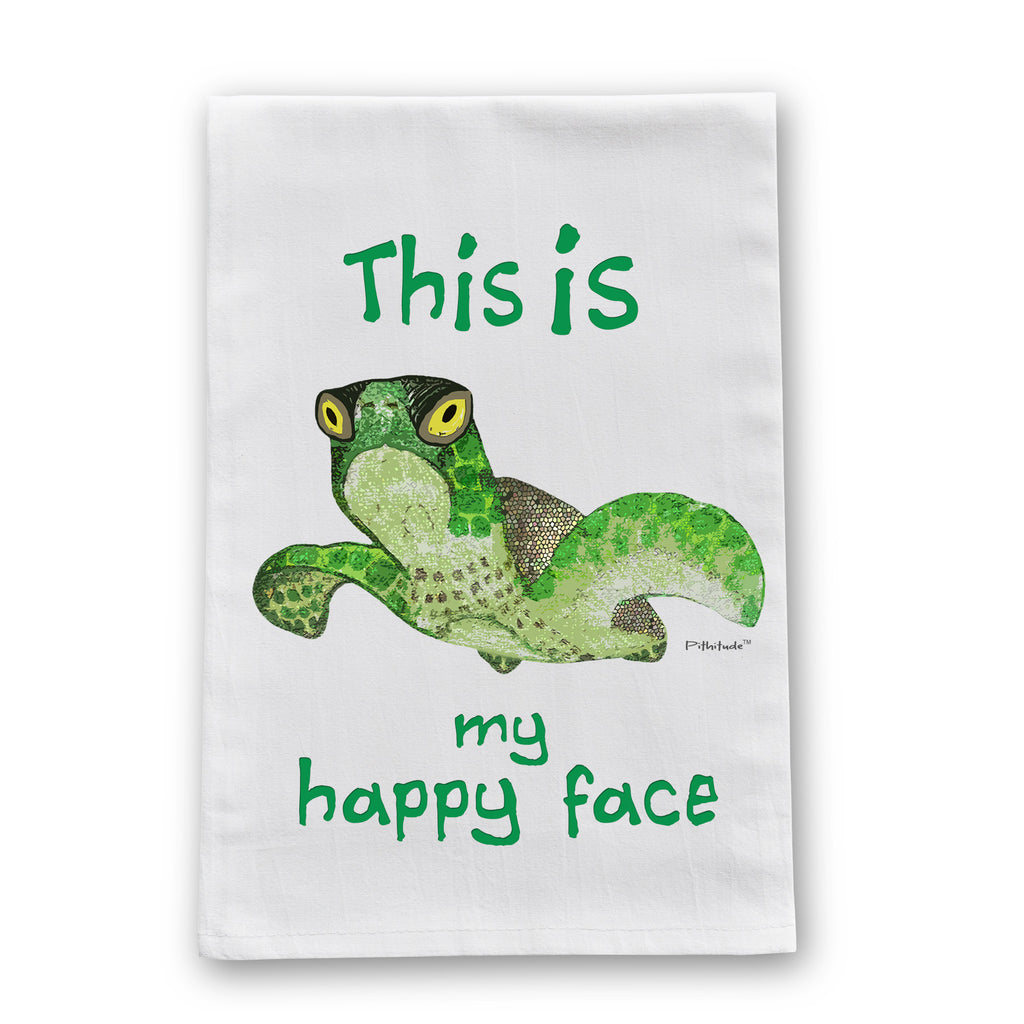 Happy Face Turtle Flour Sack Dish Towel
