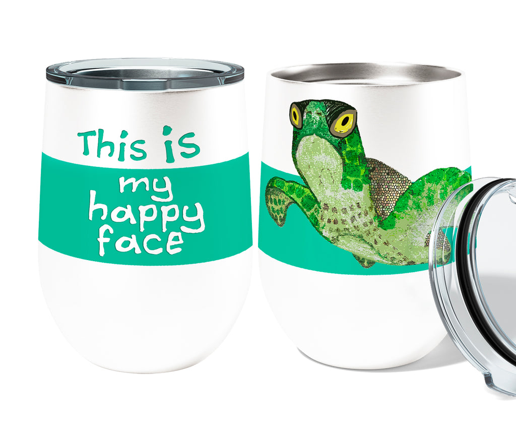 Happy Face Turtle 12oz Stemless Insulated Stainless Steel Wine or Coffee Tumbler