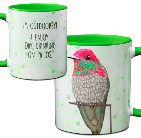 Hummingbird Drinking Green Mug