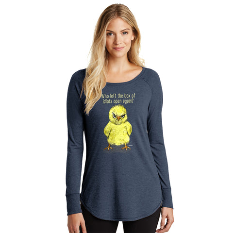 Idiot Box Chick Long-sleeved Tunic Ladies Shirt