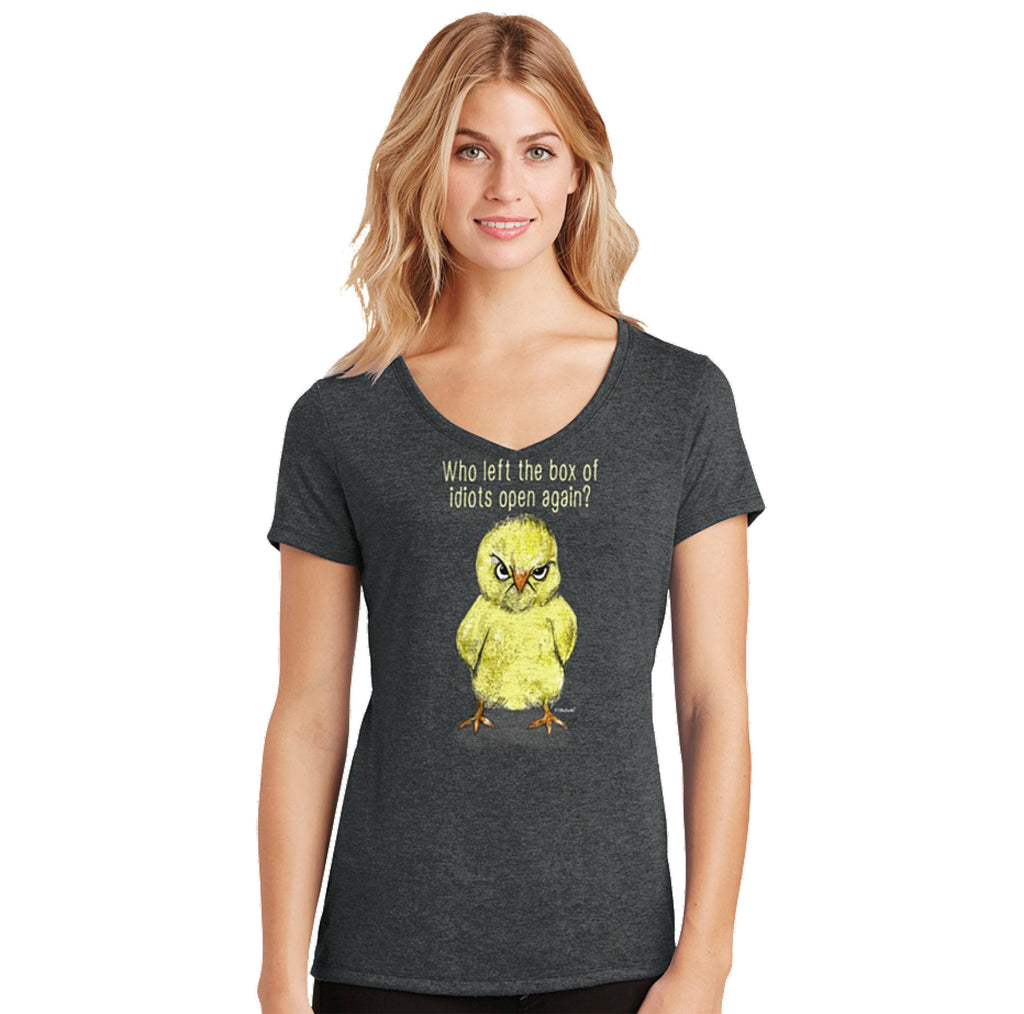 Idiot Box Chick Womens V-neck T-Shirt