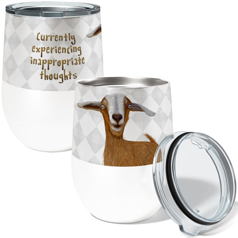 Inappropriate Goat 12oz Stemless Insulated Stainless Steel Wine Tumbler with Clear Lid