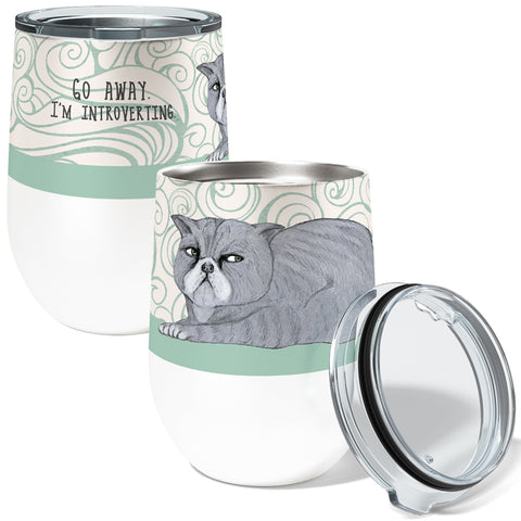 Introverting Cat 12oz Stemless Insulated Stainless Steel Wine Tumbler with Clear Lid