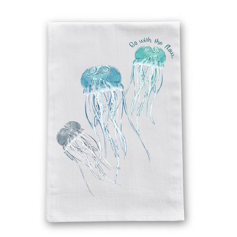 Jellyfish Flow Flour Sack Dish Towel