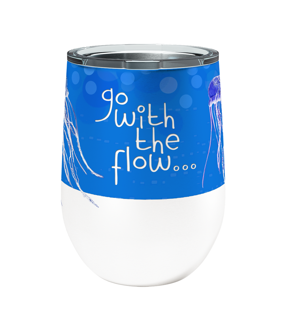 Jellyfish Flow 12oz Stemless Insulated Stainless Steel Wine or Coffee Tumbler