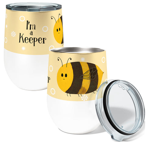 I'm A Keeper Bee 12oz Stemless Insulated Stainless Steel Wine Tumbler