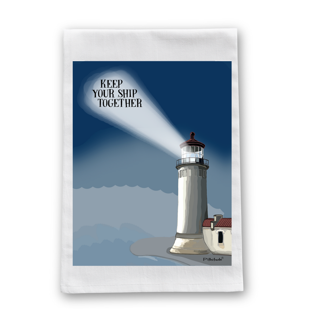 Lighthouse Ship Flour Sack Dish Towel
