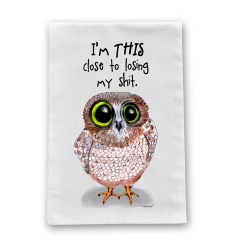 Losing It Owl Flour Sack Dish Towel