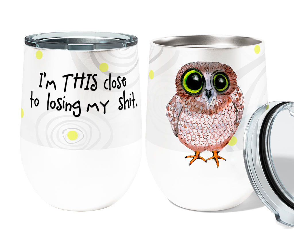 Losing it Owl 12oz Stemless Insulated Stainless Steel Wine Tumbler