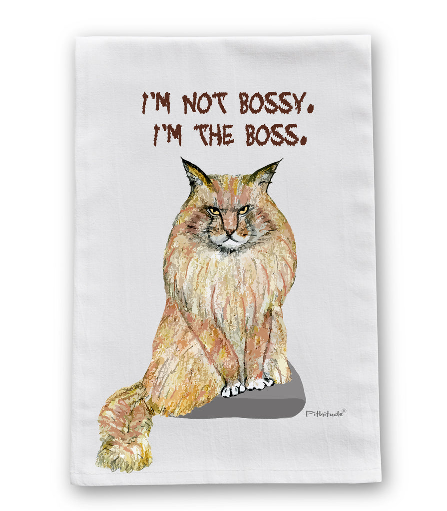 Maine Coon Bossy Cat Flour Sack Dish Towel