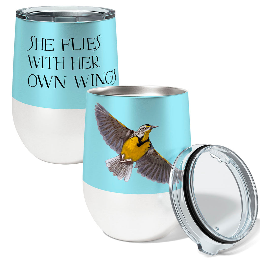 Meadowlark Flies 12oz Stemless Insulated Stainless Steel Wine Tumbler