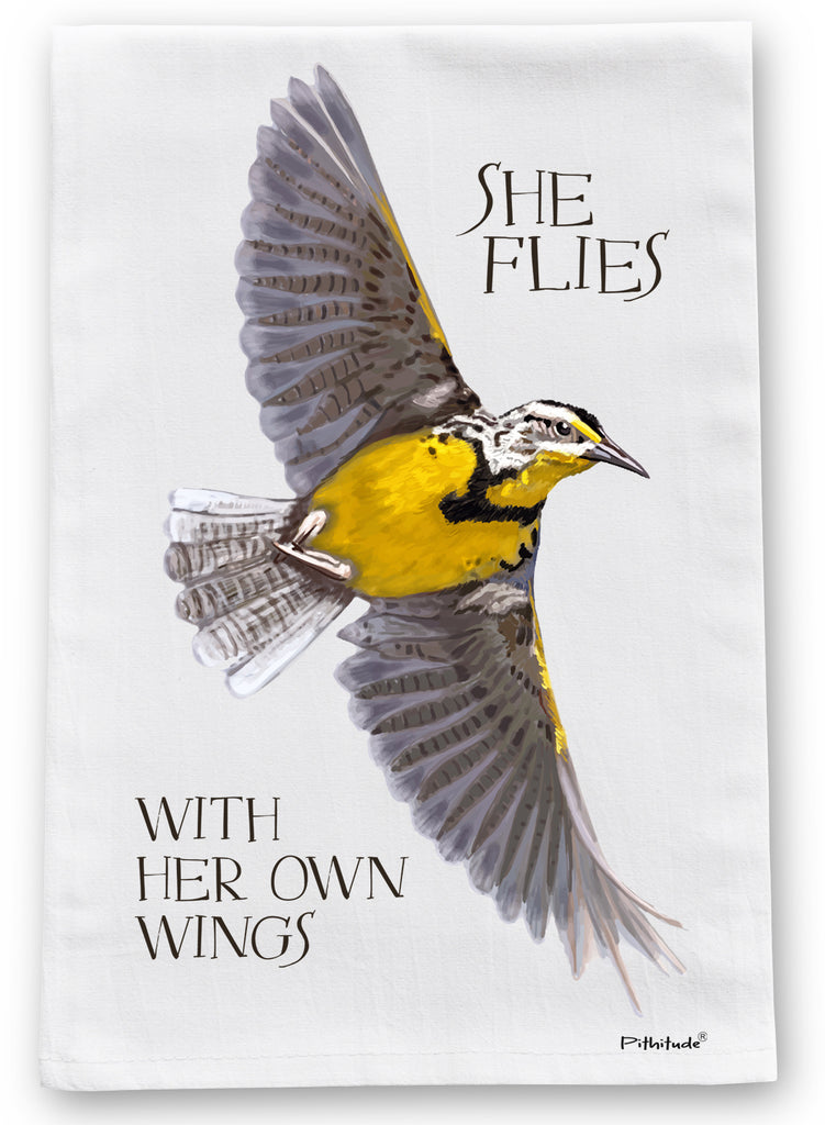Meadowlark Flies Flour Sack Dish Towel
