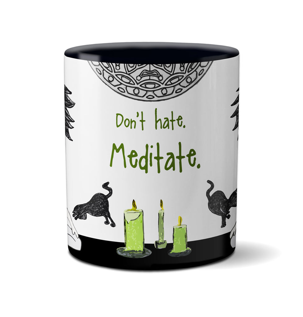 Don't Hate Meditate Yoga Cat Mug
