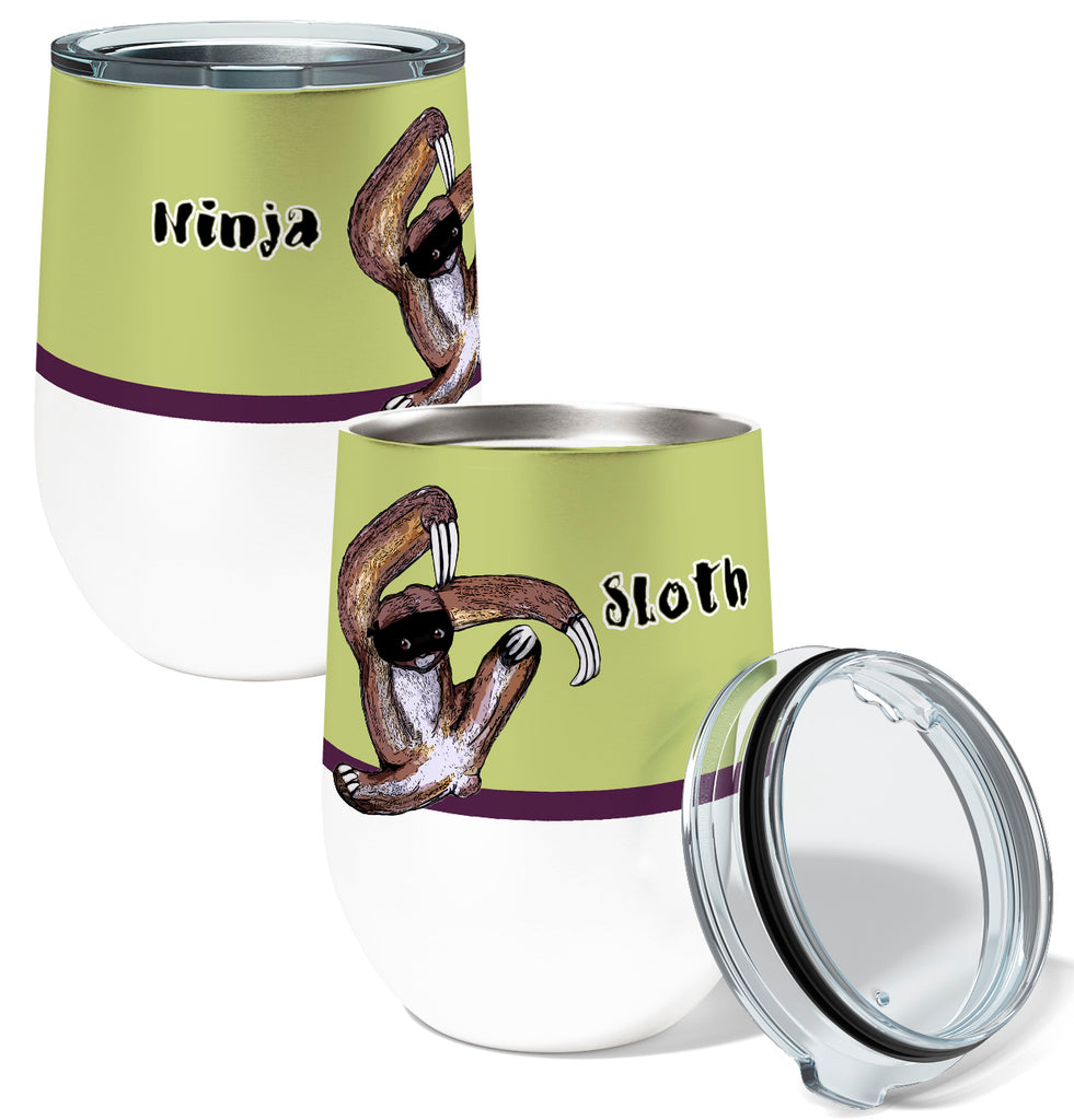 Ninja Sloth 12oz Stemless Insulated Stainless Steel Wine or Coffee Tumbler