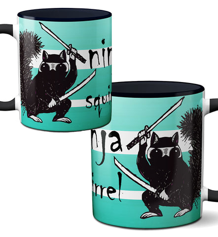 Ninja Squirrel Black Mug by Pithitude