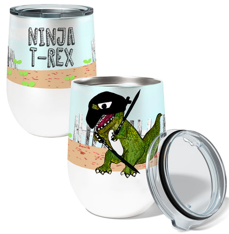 Ninja T Rex 12oz Stemless Insulated Stainless Steel Wine Tumbler with Clear Lid