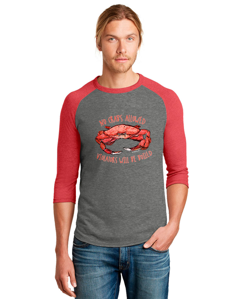 No Crabs Men's T-Shirt Raglan 3/4 Sleeve