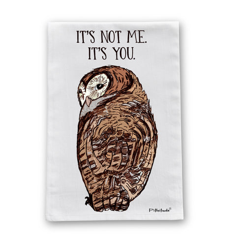 Not Me Owl Flour Sack Dish Towel