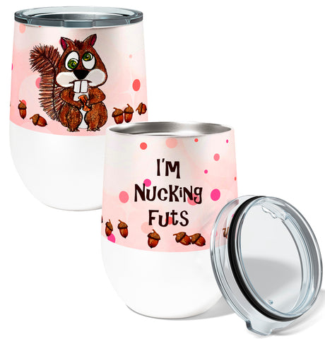 Nucking Futs Squirrel 12oz Stemless Insulated Stainless Steel Wine or Coffee Tumbler