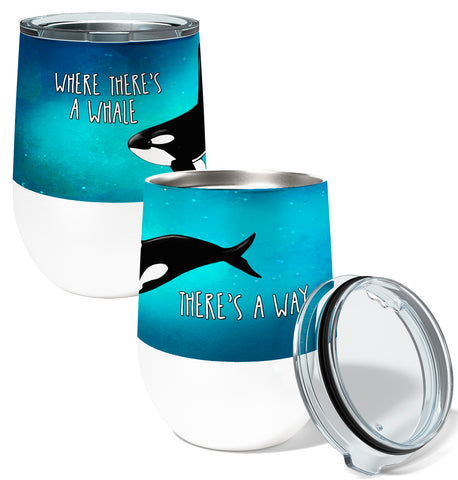Orca Way 12oz Stemless Insulated Stainless Steel Wine or Coffee Tumbler