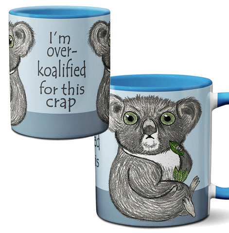 Over Koalified Funny Koala Blue Mug