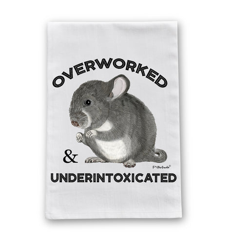 Overworked Chinchilla Flour Sack Dish Towel