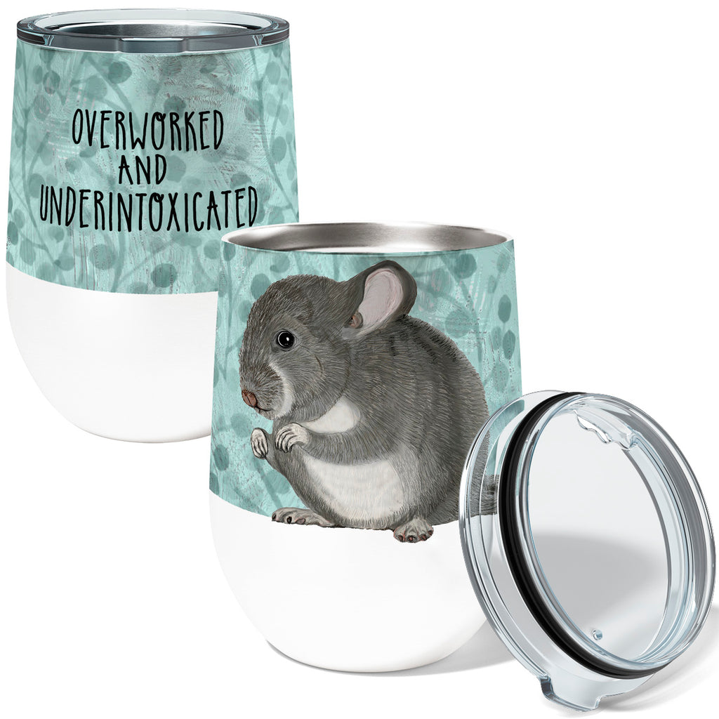 Overworked Chinchilla 12oz Stemless Insulated Stainless Steel Wine Tumbler