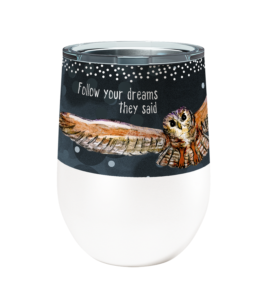 Owl Dreams 12oz Stemless Insulated Stainless Steel Wine Tumbler with Clear Lid