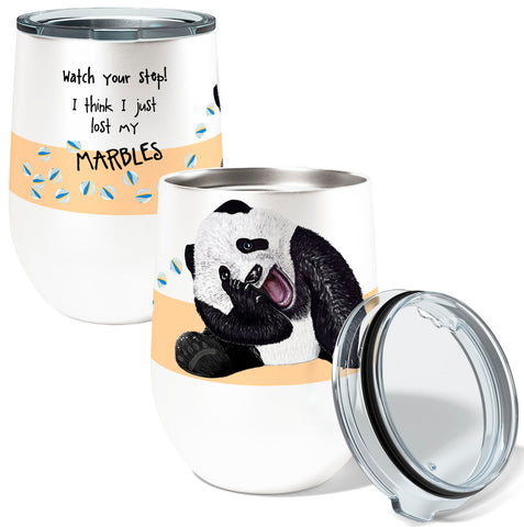 Panda Marbles 12oz Insulated Stainless Steel Wine or Coffee Tumbler with Clear Lid