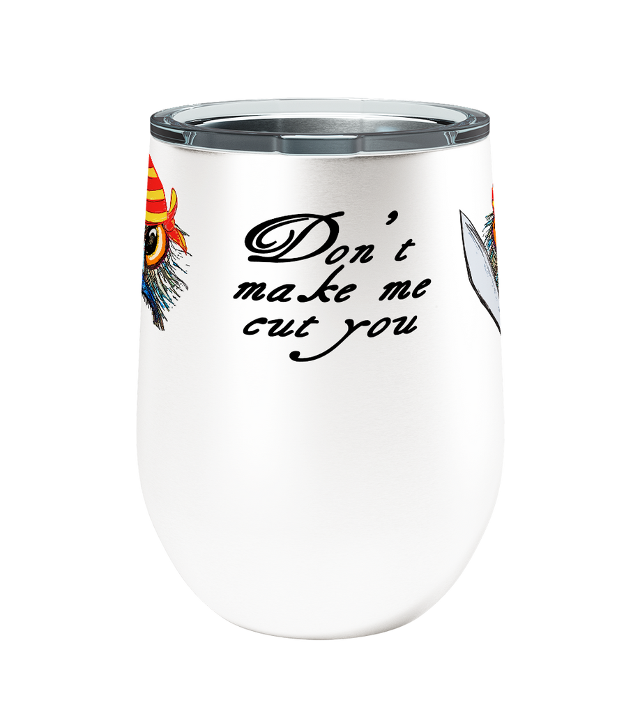 Cut You Pirate Emu 12oz Stemless Insulated Stainless Steel Wine Tumbler