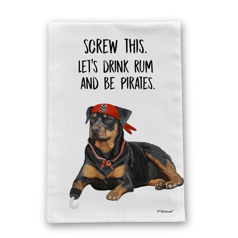 Pirate Dog Rottweiler Flour Sack Dish Towel