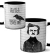 Edgar Allan Poe Boy Black Coffee Mug by Pithitude
