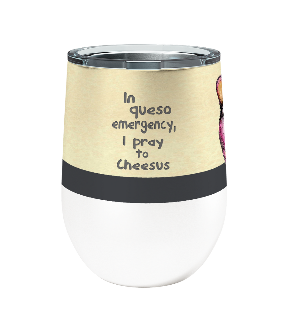 Queso Mouse 12oz Stemless Insulated Stainless Steel Wine or Coffee Tumbler