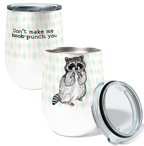 Racoon Boob Punch 12oz Insulated Stainless Steel Wine or Coffee Tumbler with Clear Lid