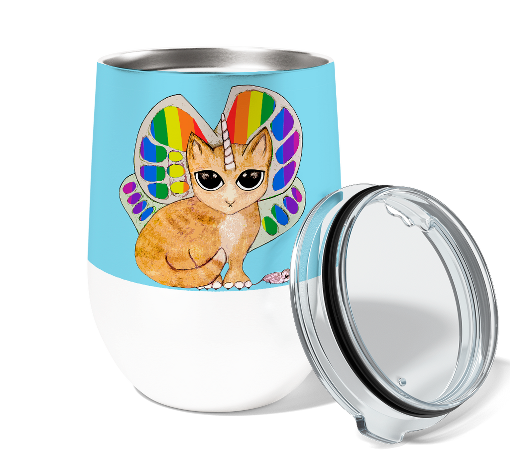 Rainbow Kitty 12oz Stemless Insulated Stainless Steel Wine Tumbler