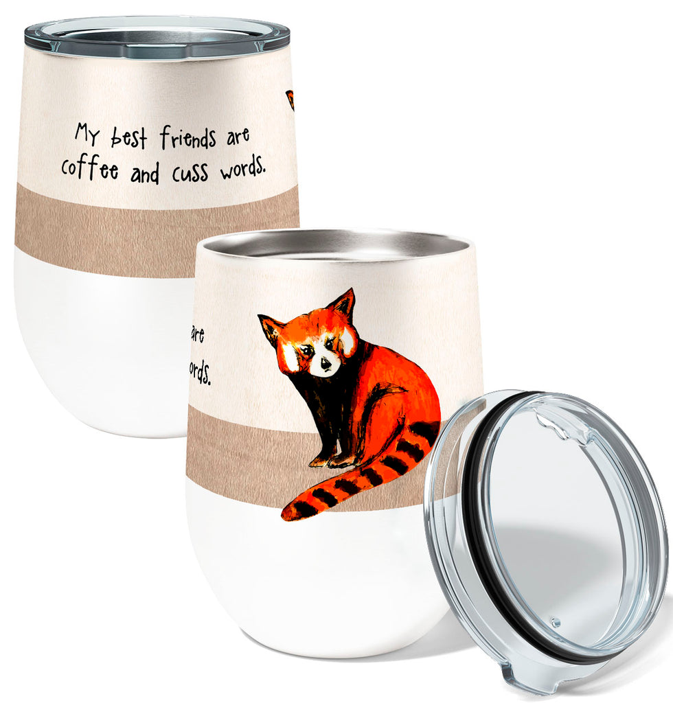 Red Panda Best Friends 12oz Insulated Stainless Steel Wine or Coffee Tumbler with Clear Lid