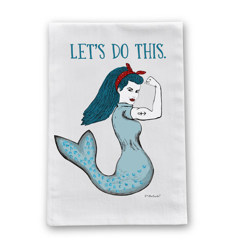 Rosie the Mermaid Retro Flour Sack Dish Towel
